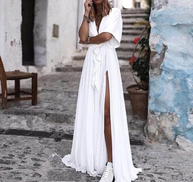 Дамска лятна секси рокля с цепка и V-образно деколте, нова колекция